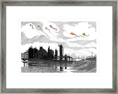 Flying Kites In Seattle Framed Print by Jack Pumphrey