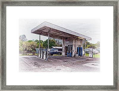 Framed Print featuring the photograph Gasoline Station by Jim Thompson