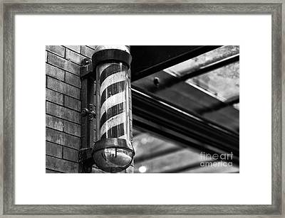 Gastown Barber's Pole Framed Print by John Rizzuto