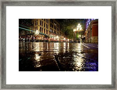 Gastown Rainy Night 2 Framed Print by Terry Elniski