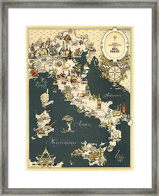 Gastronomic Map Of Italy 1949 Framed Print by Andrew Fare