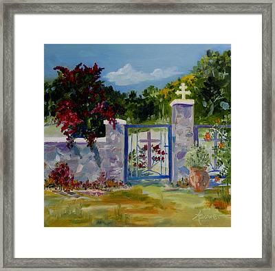 Gate At Tharri Monastery - Rhodes Framed Print