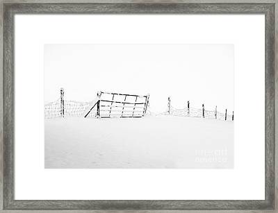 Gate In Snow Framed Print by Anne Gilbert