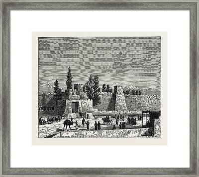 Gate Of The Fort Of Tangy-shahr, Five Miles From Kashgar Framed Print by English School
