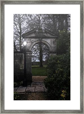 Gate With Lamp Post Framed Print