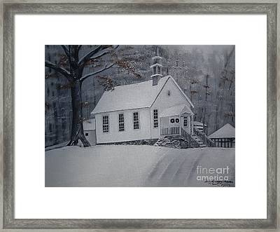Framed Print featuring the painting Gates Chapel - Ellijay - Signed By Artist by Jan Dappen