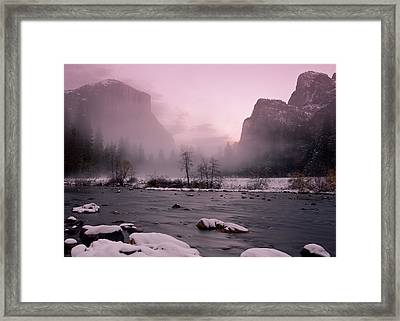 Gates Of The Valley Foggy Winter Sunset Framed Print by Robin Black