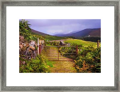 Gates On The Road. Wicklow Hills. Ireland Framed Print