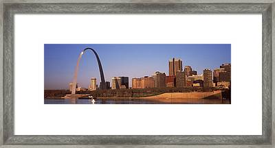 Gateway Arch Along Mississippi River Framed Print by Panoramic Images