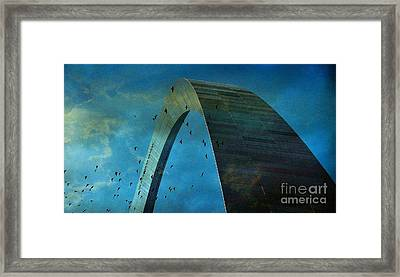 Gateway Arch With Birds Framed Print by Janette Boyd