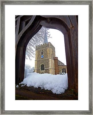 Gateway To Heaven - Church Viewed Through The Gate Framed Print by Gill Billington