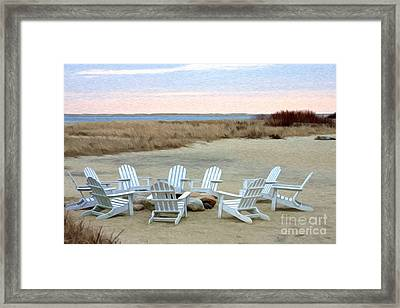 Gather Around The Fire Pit Framed Print by Jayne Carney