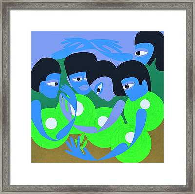 Gathering 1, 1980 Acrylic On Board Framed Print by Ron Waddams