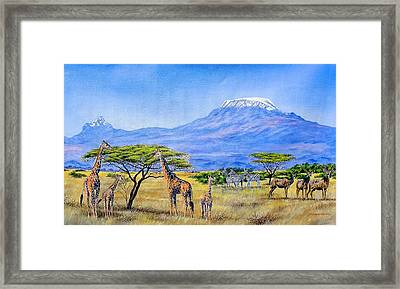 Gathering At Mount Kilimanjaro Framed Print
