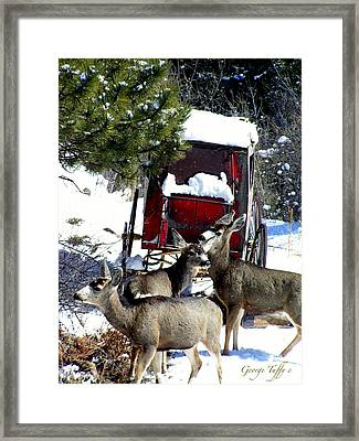 Gathering At The Old Stage Coach.. Framed Print