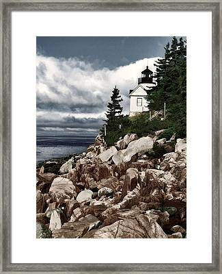 Gathering Coastal Storm In Maine Framed Print