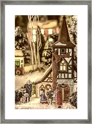 Gathering In The Churchyard Framed Print