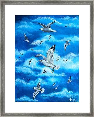 Gathering Of Gulls Framed Print by Jim Bowers