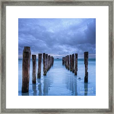 Gathering Storm Clouds Over Old Jetty Framed Print by Colin and Linda McKie