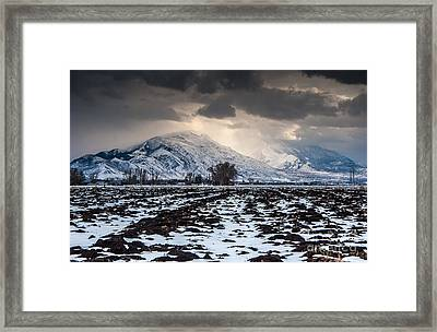 Gathering Winter Storm - Utah Valley Framed Print