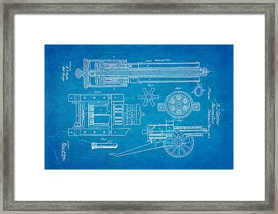 Gatling Machine Gun Patent Art 1862 Blueprint Framed Print