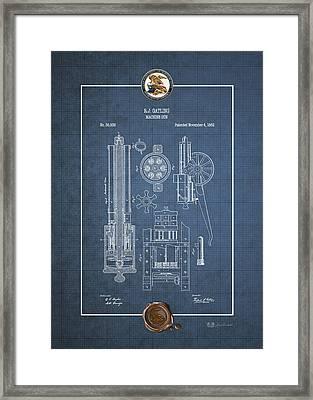Gatling Machine Gun - Vintage Patent Blueprint Framed Print