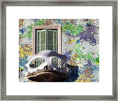 Gaudis Skull Balcony And Mosaic Walls Framed Print by Rene Triay Photography