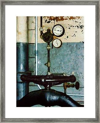 Gauges In Machine Shop Framed Print
