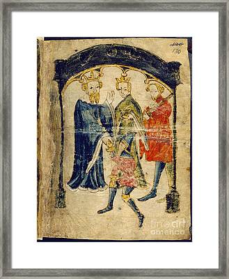 Gawain's Return To Court Framed Print by British Library