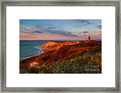 Gay Head Lighthouse Sunset Framed Print by Katherine Gendreau
