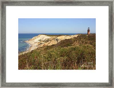 Gay Head Lighthouse With Aquinnah Beach Cliffs Framed Print by Carol Groenen