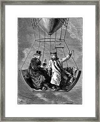 Gay-lussac And Biot Balloon Ascent Framed Print by Science Photo Library