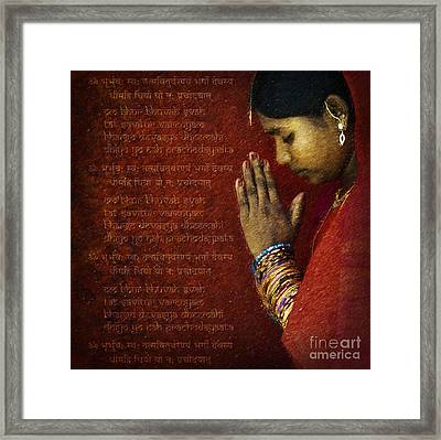 Gayatri Mantra Framed Print by Tim Gainey