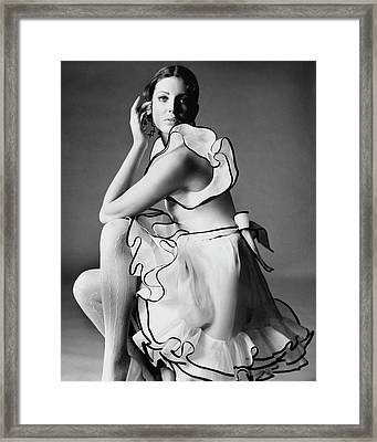 Gayle Hunnicutt Wearing A Oscar De La Renta Dress Framed Print