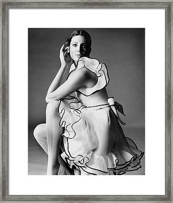 Gayle Hunnicutt Wearing A Oscar De La Renta Dress Framed Print by Bert Stern