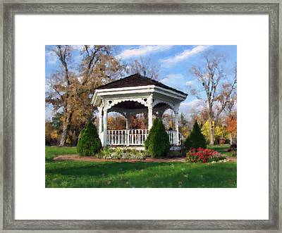 Gazebo At Olmsted Falls - 1 Framed Print