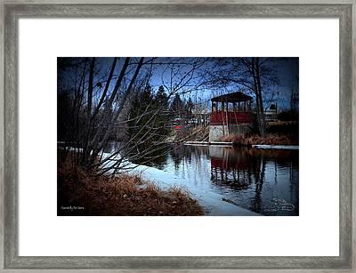Gazebo By The Creek 01 Framed Print by Guy Hoffman