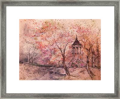 Gazebo In Red Framed Print by Anna Sandhu Ray