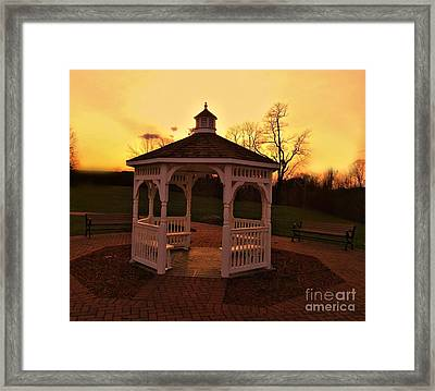 Framed Print featuring the photograph Gazebo In Sunset by Becky Lupe