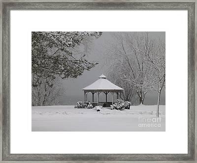 Gazebo In Winter Framed Print by Avis  Noelle