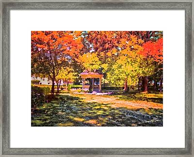 Gazebo On A Autumn Day Framed Print by Thomas Woolworth