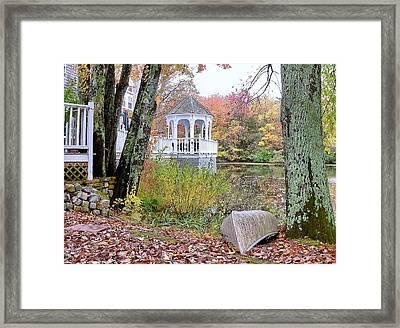 Gazebo On Pond -  Fall Scene Framed Print by Janice Drew