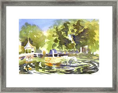Gazebo With Pond And Fountain II Framed Print by Kip DeVore
