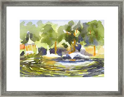 Gazebo With Pond And Fountain Framed Print by Kip DeVore