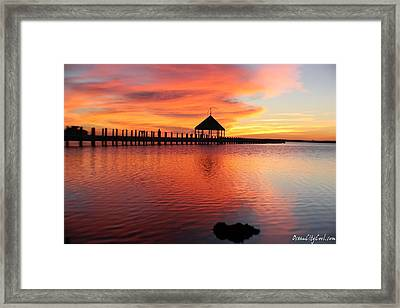 Gazebo's Sunset Reflection Framed Print