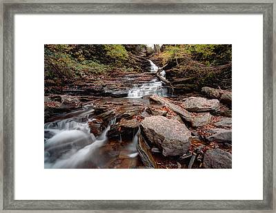 Gazing Up From Below Huron Falls Framed Print by Gene Walls