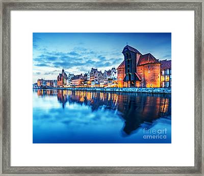 Gdansk Poland Old Town Motlawa River And Famous Crane Polish Zuraw Framed Print