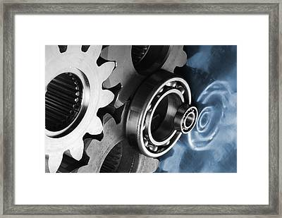 Gears And Cogwheels Reflection Framed Print