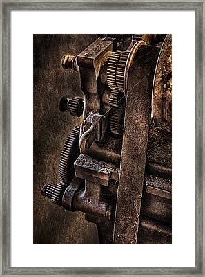 Gears And Pulley Framed Print