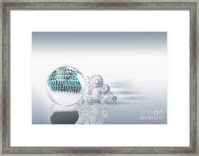 Gears Behind Earth Framed Print by Mike Agliolo